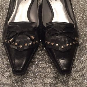 c0f44a3f337 BCBG Shoes - BCBG leather and silver studded loafers